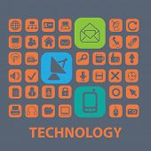 information technology, it, industry icons, signs, illustrations set, vector