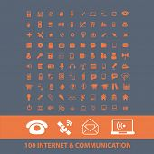 100 internet, communication, technology icons, signs, illustrations set, vector