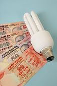 CFL light bulb with Indian currency