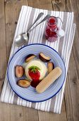 Panna Cotta With Plum And Biscuit