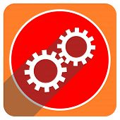 gears red flat icon isolated