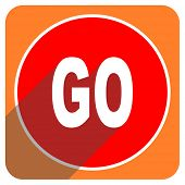 go red flat icon isolated