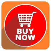 buy now red flat icon isolated