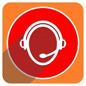 customer service red flat icon isolated