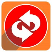 rotation red flat icon isolated