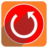 rotate red flat icon isolated