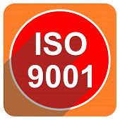 iso 9001 red flat icon isolated
