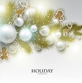Christmas background with  Christmas toys, balls and  stars. Xmas Decoration Elements for design.