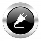 plug black circle glossy chrome icon isolated
