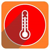 thermometer red flat icon isolated