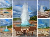 Collage. The pillar of hot water and steam from forcing its way out of the ground. Phases of the eruption of the geyser Strokkur in Iceland. Two lounge chairs and  small table on  wooden platform
