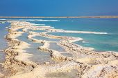 The picturesque path from the evaporated salt in the Dead Sea. Salt formed long paths with scalloped edges. Israel in October