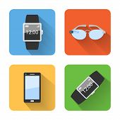 Flat Smart Wearable Device Icons. Vector Illustration