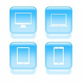Glassy Device Icons. Vector Illustration