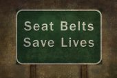 stock photo of seatbelt  - Seat belts save lives roadside sign illustration - JPG