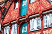 Picturesque historic buildings in Old Town of Lueneburg, Germany