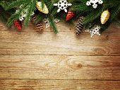 image of fir  - Christmas fir tree on wooden board background with copy space  - JPG