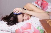 The Girl Fell Asleep With Alarm At The Ear
