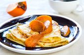 picture of sauteed  - Crepe with sauteed persimmon in syrup by coffee - JPG