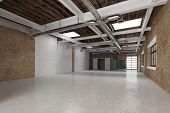 Empty clean warehouse hall with daylight as business premises (3D Rendering)