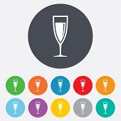 Glass of champagne sign icon. Alcohol drink.