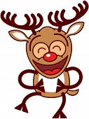 Xmas reindeer laughing enthusiastically