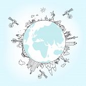 Global Information Network  On The Globe, Vector Illustration