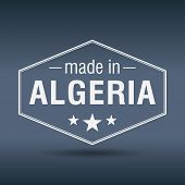 stock photo of algeria  - made in Algeria hexagonal white vintage label - JPG