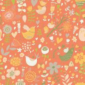 Romantic floral seamless pattern with cute small birds in flowers. Vector spring background in summer colors