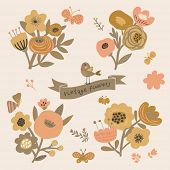 Vintage floral elements in vector. Cute retro set with birds and butterflies. Stylish flowers for modern designs
