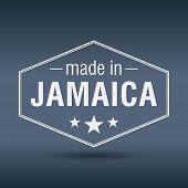 Made In Jamaica Hexagonal White Vintage Label