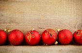 Bottom Line Red Baubles Christmas Ornaments Wooden