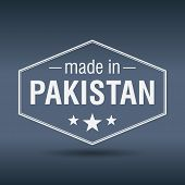 Made In Pakistan Hexagonal White Vintage Label