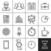 Business Icons. Vector illustration. Simplines series