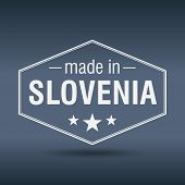 Made In Slovenia Hexagonal White Vintage Label