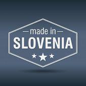 Made In Slovenia Hexagonal White Vintage Label