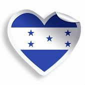 Heart Sticker With Flag Of Honduras Isolated On White