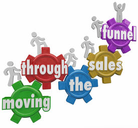 picture of clientele  - Moving Through the Sales Funnel words on gears with customers walking up to symbolize the process of buying products and service from your company - JPG
