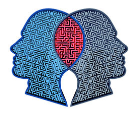 stock photo of merge  - Complicated relationship as a concept for group therapy or marriage counseling as two human heads made from a maze merging together in an overlap as an icon of partnership solutions isolated on white - JPG