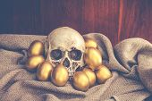 pic of human egg  - Human skull surrounded by golden easter egg on brown sack with dark brown wooden backgound - JPG