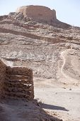 pic of zoroastrianism  - tower of silence Yazd Zoroastrian tradition considered a dead body to be nasu unclean - JPG