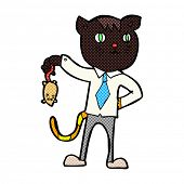 picture of dead mouse  - retro comic book style cartoon business cat with dead mouse - JPG