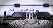 stock photo of typewriter  - Vintage inscription made by old typewriter ready to get published - JPG