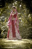 foto of indian beautiful people  - Young beautiful Hindu Indian bride in traditional gown outdoors in garden - JPG