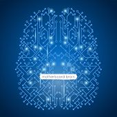 picture of circuit  - Computer circuit motherboard in brain shape technology and artificial intelligence concept vector illustration - JPG