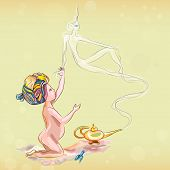 foto of genie  - Little girl with Genie on the beach vector illustration - JPG