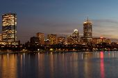 pic of prudential center  - Boston Back Bay skyline and Charles river - JPG