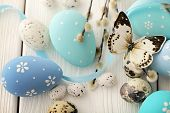 pic of easter decoration  - blue easter eggs decoration - JPG