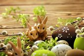 stock photo of easter eggs bunny  - colorful easter eggs and easter rabbit - JPG