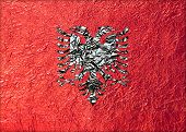 foto of albania  - Albania Flag with a Shiny leaf Bronze Shiny leaf foil texture background - JPG